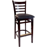 BFM Seating Burlington Walnut Wood Ladder Back Restaurant Bar Stool [WB101WAV]