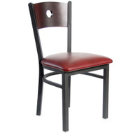 BFM Seating Darby Black Metal Circle Wood Back Restaurant Chair [2152C-SBV]