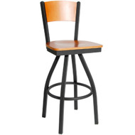 BFM Seating Dale Metal Solid Wood Back Restaurant Swivel Bar Stools [2150S-SBW]