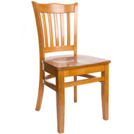 BFM Seating Princeton Honey Oak Wood School Back Restaurant Chair [WC7218HOHOW]
