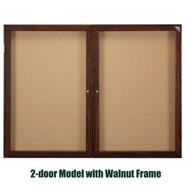 Ghent 36x60-inch Enclosed Cork Bulletin Board - Walnut Frame [PN23660K]