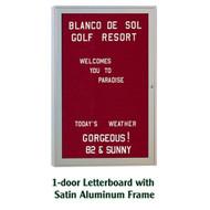 Ghent 24x18-inch Enclosed Burgundy Letter Board - Satin Aluminum Frame [PA12418B-BG]