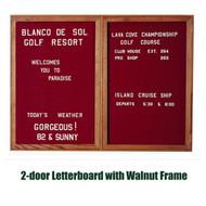 Ghent 48x60-inch Enclosed Burgundy Letter Board - Walnut Frame [PN24860B-BG]