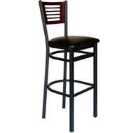 BFM Seating Espy Black Metal Slotted Wood Back Restaurant Bar Stools [2151B-SBV]
