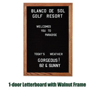 Ghent 36x36-inch Enclosed Black Letter Board - Walnut Frame [PN13636B-BK]