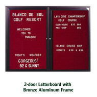 Ghent 36x60-inch Enclosed Burgundy Letter Board - Bronze Aluminum Frame [PB23660B-BG]