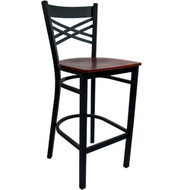 Advantage Cross Back Metal Bar Stool - Mahogany Wood Seat [BSXB-BFMW]