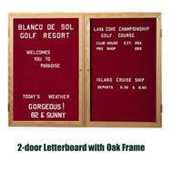 Ghent 48x60-inch Enclosed Burgundy Letter Board - Oak Frame [PW24860B-BG]