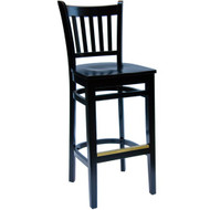 BFM Seating Delran Black Wood Slat Back Restaurant Bar Stool [WB102BLBLW]