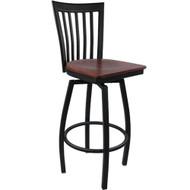 Advantage Vertical Slat Back Metal Swivel Bar Stool - Mahogany Wood Seat [SBVB-BFMW]