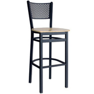 BFM Seating Polk Black Metal Perforated Back Restaurant Bar Stools [2161B-SBW]
