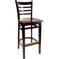 BFM Seating Burlington Walnut Ladder Back Restaurant Bar Stool [WB101WAWAW]