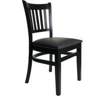 BFM Seating Delran Black Wood Slat Back Restaurant Chair [WC102BLV]