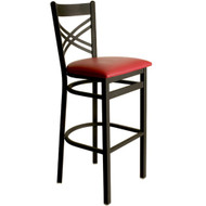 BFM Seating Akrin Black Metal Cross Back Restaurant Bar Stools [2130B-SBV]