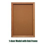 Ghent 36x30-inch Enclosed Cork Bulletin Board - Oak Frame [PW13630K]