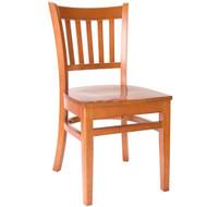 BFM Seating Delran Cherry Wood Slat Back Restaurant Chair [WC102CHCHW]