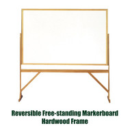 Ghent 4'x6' Reversible Free Standing Whiteboard - Hardwood Frame [RMM46]