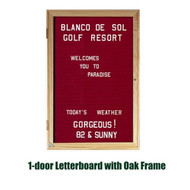 Ghent 36x36-inch Enclosed Burgundy Letter Board - Oak Frame [PW13636B-BG]