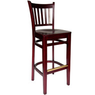 BFM Seating Delran Mahogany Wood Slat Back Restaurant Bar Stool [WB102MHMHW]