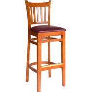 BFM Seating Delran Cherry Wood Slat Back Restaurant Bar Stool [WB102CHV]