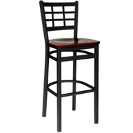 BFM Seating Marietta Black Metal Window Pane Back Restaurant Bar Stools [2163B-SBW]