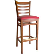 BFM Seating Burlington Cherry Wood Ladder Back Restaurant Bar Stool [WB101CHV]