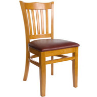 BFM Seating Princeton Honey Oak Wood School Back Restaurant Chair [WC7218HOV]