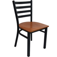Advantage Black Metal Ladder Back Chair - Cherry Wood Seat [RCLB-BFCW]