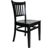 BFM Seating Delran Black Wood Slat Back Restaurant Chair [WC102BLBLW]