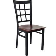 Advantage Black Metal Window Pane Back Chair - Mahogany Wood Seat [RCWPB-BFMW]
