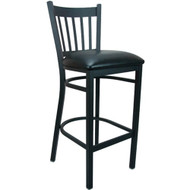Advantage Vertical Slat Back Metal Bar Stool - Black Padded [BSVB-BFBV]