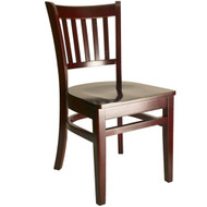 BFM Seating Delran Mahogany Wood Slat Back Restaurant Chair [WC102MHMHW]