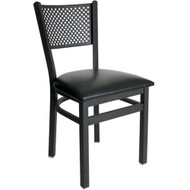 BFM Seating Polk Black Metal Perforated Back Restaurant Chair [2161C-SBV]