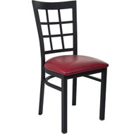 Advantage Black Metal Window Pane Back Chair - Burgundy Padded [RCWPB-BFRV]