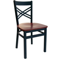 BFM Seating Akrin Black Metal Cross Back Restaurant Chair [2130C-SBW]