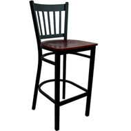 Advantage Vertical Slat Back Metal Bar Stool - Mahogany Wood Seat [BSVB-BFMW]
