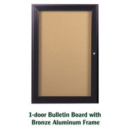 Ghent 24x18-inch Enclosed Cork Bulletin Board - Bronze Aluminum Frame [PB12418K]