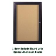 Ghent 24x18-inch Enclosed Cork Bulletin Board - Bronze Aluminum Frame [PB12418K]