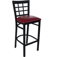 Advantage Window Pane Back Metal Bar Stool - Burgundy Padded [BSWPB-BFRV]