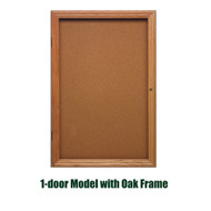 Ghent 36x24-inch Enclosed Cork Bulletin Board - Oak Frame [PW13624K]