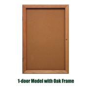 Ghent 36x24-inch Enclosed Cork Bulletin Board - Oak Frame [PW13624K]