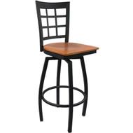 Advantage Window Pane Back Metal Swivel Bar Stool - Cherry Wood Seat [SBWPB-BFCW]