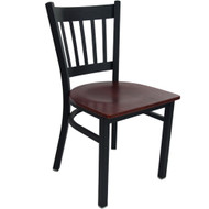 Advantage Black Metal Vertical Slat Back Chair - Mahogany Wood Seat [RCVB-BFMW]