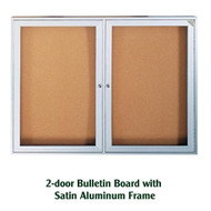 Ghent 36x60-inch Enclosed Cork Bulletin Board - Satin Aluminum Frame [PA23660K]
