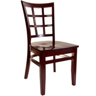 BFM Seating Pennington Mahogany Window Pane Restaurant Chair [WC629MHMHW]