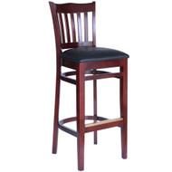 BFM Seating Princeton Mahogany Wood School Back Restaurant Bar Stool [WB7218MHV]