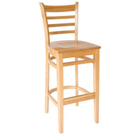 BFM Seating Burlington Natural Wood Ladder Back Restaurant Bar Stool [WB101NTNTW]