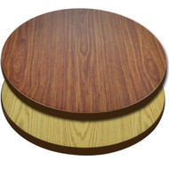 "Advantage 24"" Round Restaurant Table Top - Oak or Walnut Reversible Laminate [CT24RND-OWBR]"