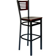 BFM Seating Espy Black Metal Slotted Wood Back Restaurant Bar Stools [2151B-SBW]