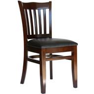 BFM Seating Princeton Walnut Wood School Back Restaurant Chair [WC7218WAV]